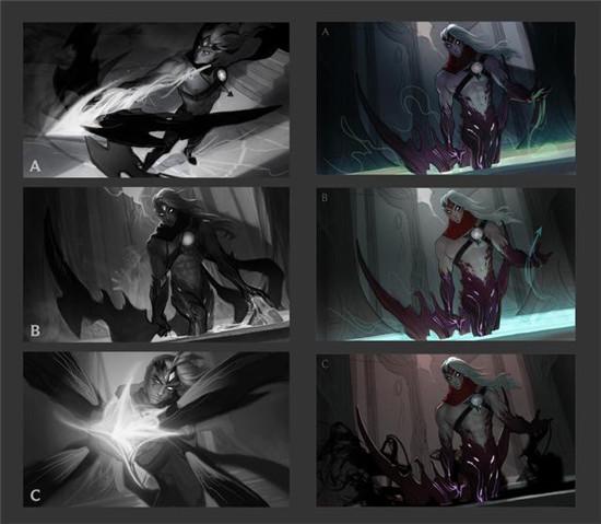 新版韦鲁斯的原画创作历程:三种场景,最终选择了这个!